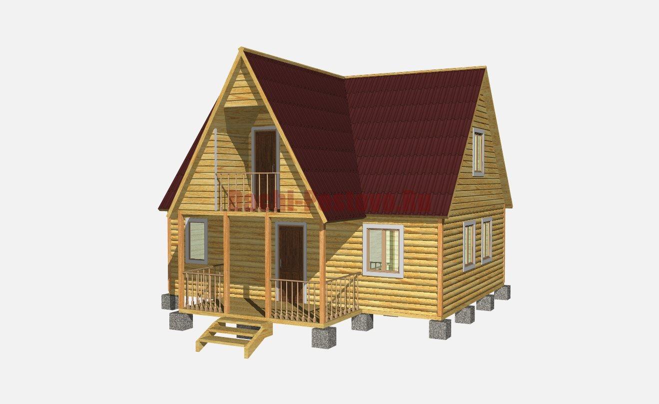 Двухэтажный дом из бруса 9 на 6 с мансардой, террасой, балко.